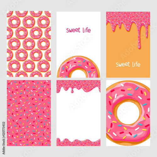 fototapeta na ścianę Set of bright food cards. Set of donuts with chocolate glaze. Donut seamless pattern.