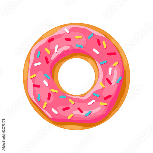 Canvas Print donut with pink glaze. donut icon,  donut vector illustration