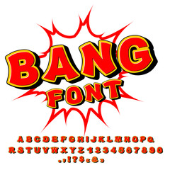 Bang font. Comic alphabet. Bright cartoon ABC. Red letters