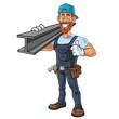 Hipster Repairman Cartoon Character Design Vector
