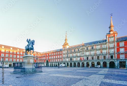 Foto auf Leinwand Madrid Morning Light at Plaza Mayor in Madrid , Spain