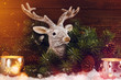 Christmas background with deer head decoration in shine lights