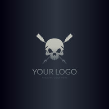 Crossed Arrows And Skull. Skull Logo.  Easy To Edit, Change Size, Color And Text.