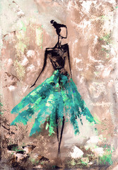 Fototapetaabstract woman in dress, oil painting