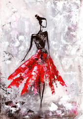 Fototapetaoil painting, young woman in dress