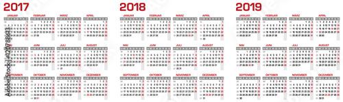 Kalender/Kalendarium für 2017 - 2018 - 2019 mit Feiertagen in Deutschland