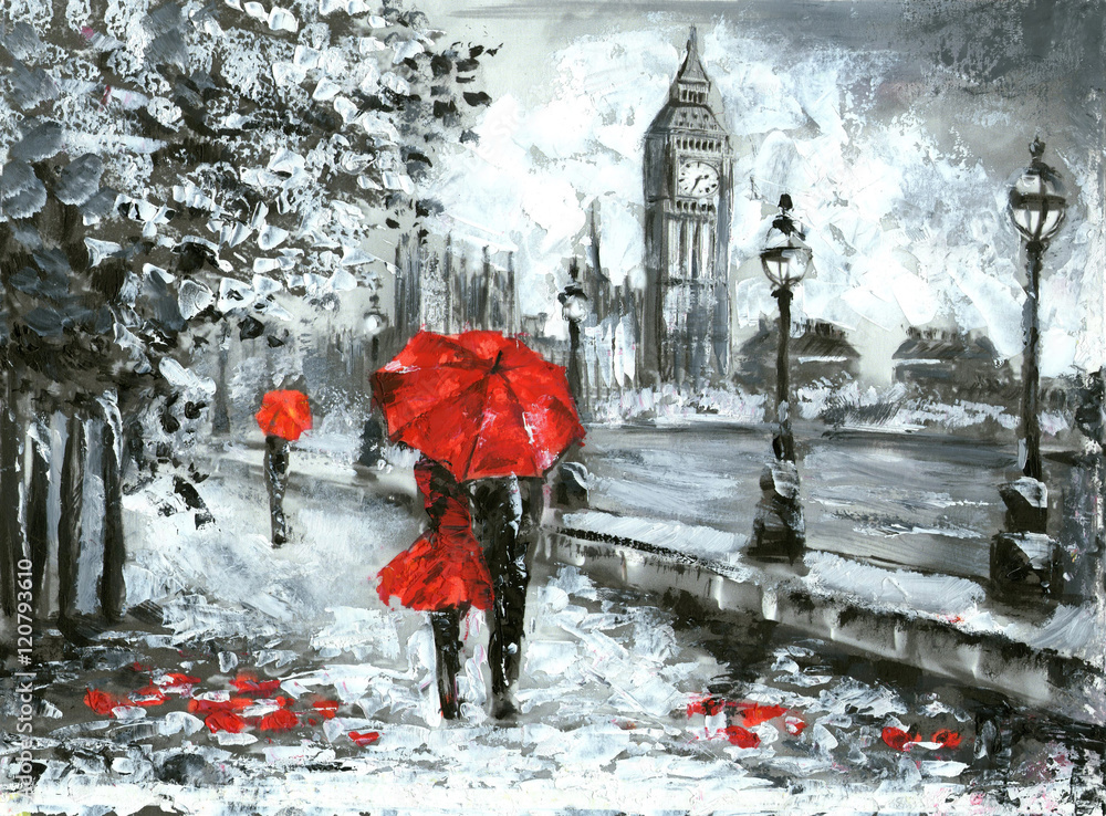Obraz oil painting, street view of london. Artwork, Black, white and red, big ben fototapeta, plakat