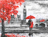 Fototapeta Londyn - .oil painting on canvas, street view of london, river and bus on bridge. Artwork. Big ben. man and woman under a red umbrella