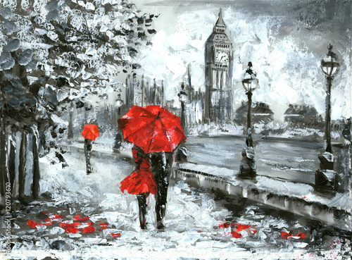 Fototapeta oil painting, street view of london. Artwork, Black, white and red, big ben obraz