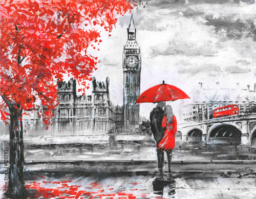 Fototapeta .oil painting on canvas, street view of london, river and bus on bridge. Artwork. Big ben. man and woman under a red umbrella obraz