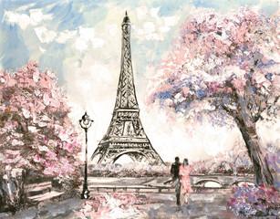 Oil Painting, Street View of Paris. Tender landscape, spring