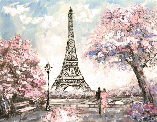 Oil Painting, Street View of Paris. Tender landscape, spring