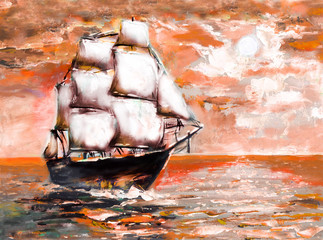 Fototapeta Marynistyczny Ship in ocean with white sails, oil painting. sunset
