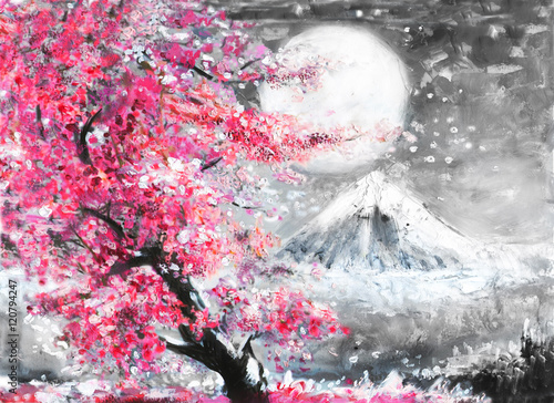 Obrazy reprodukcje  oil-painting-landscape-with-sakura-and-mountain-hand-drawn-illustration-japan