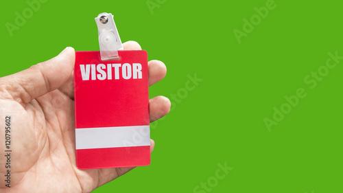 holding visitor card Fototapeta