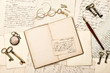 Diary book, vintage accessories, old letters and postcards
