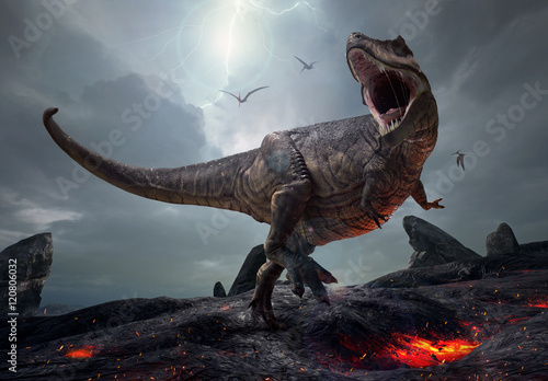 Photo  3D rendering of the king of dinosaurs, Tyrannosaurus Rex, in a harsh prehistoric world