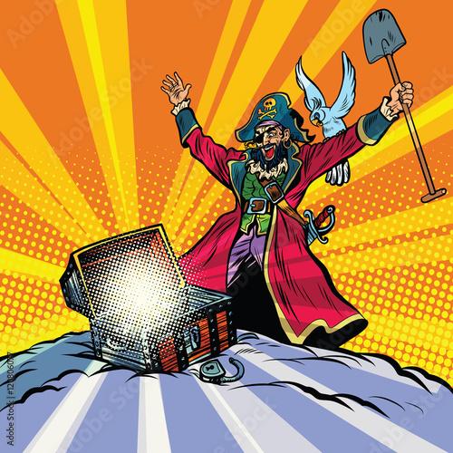 Fototapeta Skarb piratów, kapitan, papuga i skrzynia złota