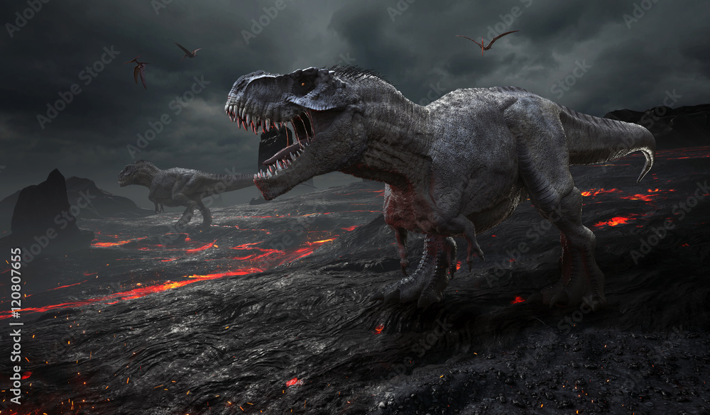 Fototapety, obrazy: 3D rendering of the extinction of the dinosaurs.