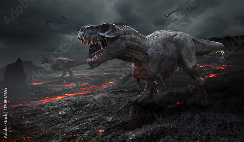 Photo  3D rendering of the extinction of the dinosaurs.