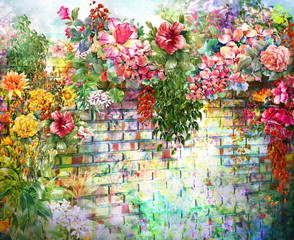 Fototapeta Do przedpokoju Abstract flowers on Wall watercolor painting. Spring multicolored flowers