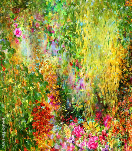 Abstract flowers watercolor painting. Spring multicolored flowers - 120810845