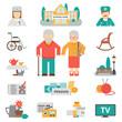 Senior Lifestyle Flat Icons Set
