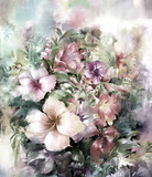 Bouquet of multicolored flowers watercolor painting style - 120812483
