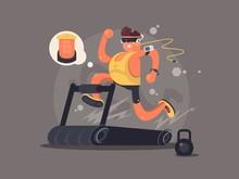 Young Man Running On Treadmill