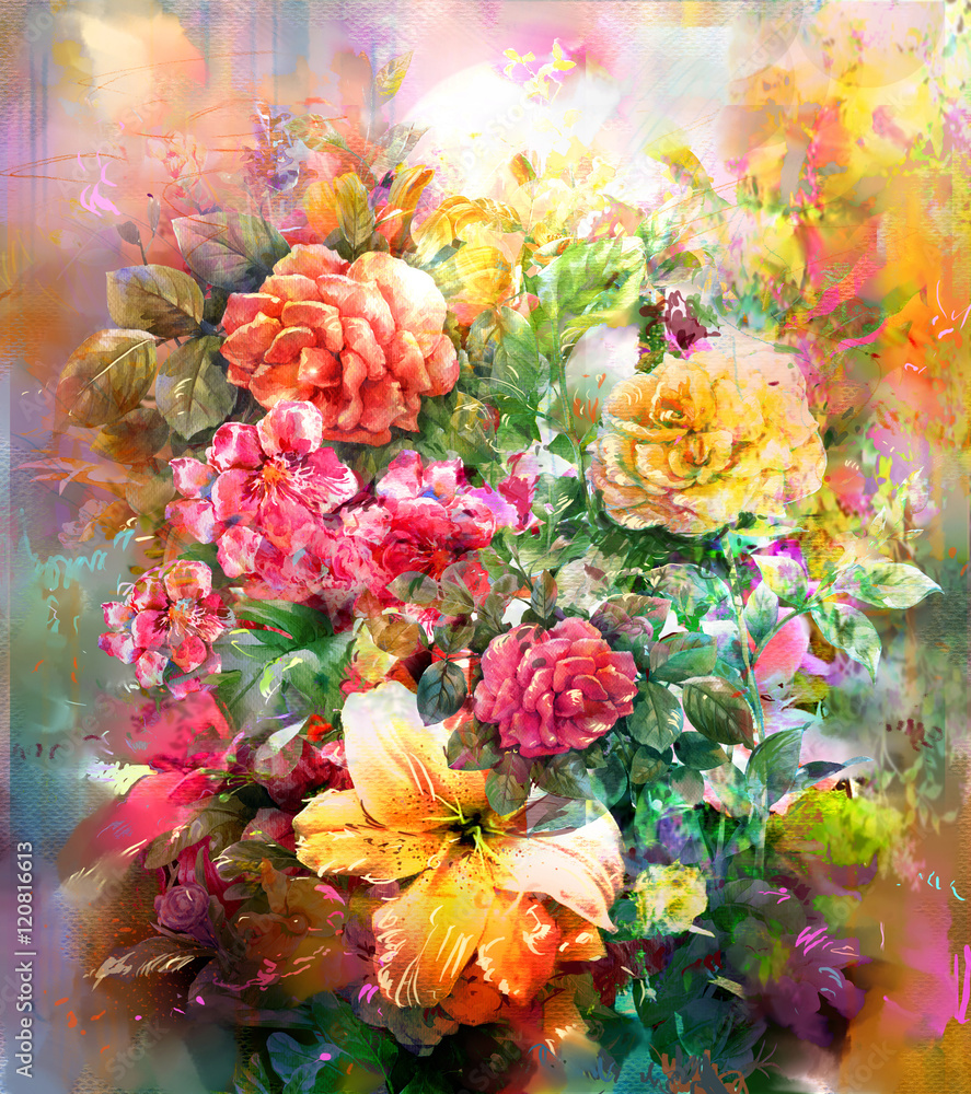 Fototapety, obrazy: Bouquet of multicolored flowers watercolor painting style