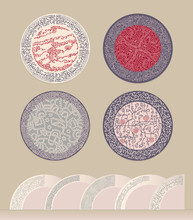 A Set Of Patterns In A Circle. Figure For Plates Or Saucers. Thick Mold Filling Linear Pattern  Imitating Lace. The Circular Border Or Frame.  Cold Color Gamma.