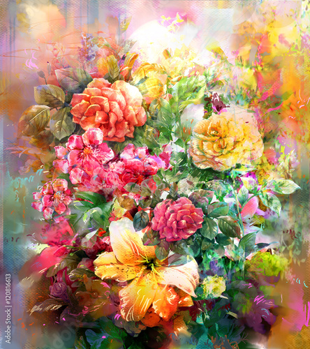 Fototapeta Bouquet of multicolored flowers watercolor painting style obraz