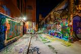Fototapeta Młodzieżowe - Graffiti Alley at night, in the Station North District, of Balti
