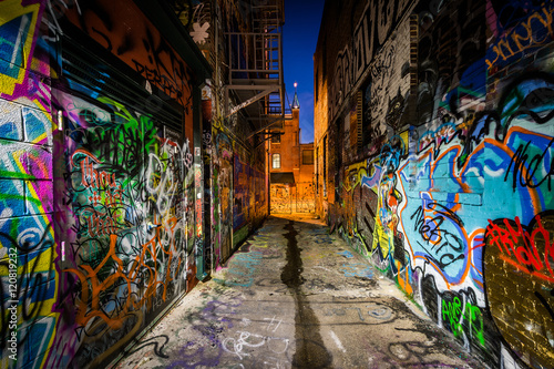 Photo  Graffiti Alley at night, in the Station North District, of Balti