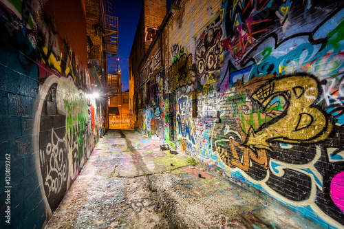 Graffiti Alley at night, in the Station North District, of Balti