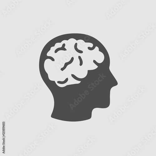 Fotografiet  Head with brain vector icon. Simple isolated silhouette symbol.
