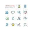 Business, Finance, Law Symbols - thick line design icons set
