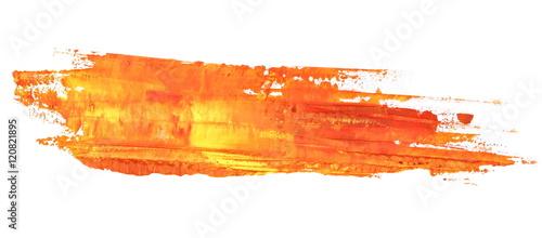 photo orange grunge brush strokes oil paint isolated on white background - 120821895