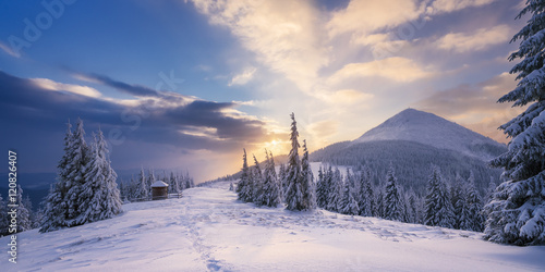 Valokuva  Winter Landscape with a dawn in mountains