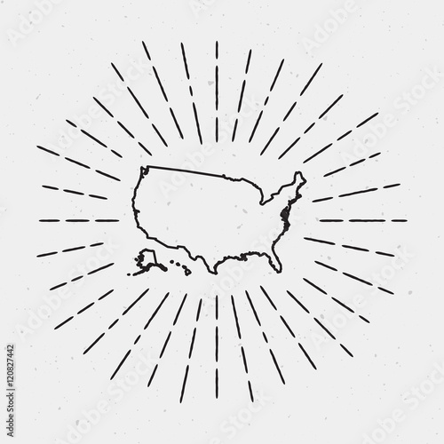 Vector United States Map Outline with Retro Sunburst Border. Hand ...