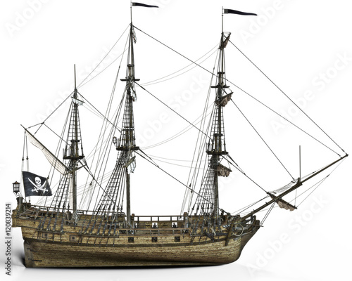 Photo  Pirate ship on a white background. 3d rendering