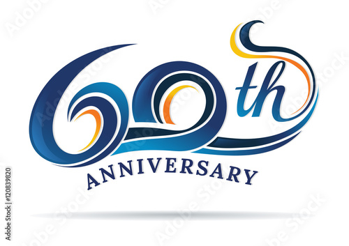 anniversary emblems 60 in anniversary concept template design Poster