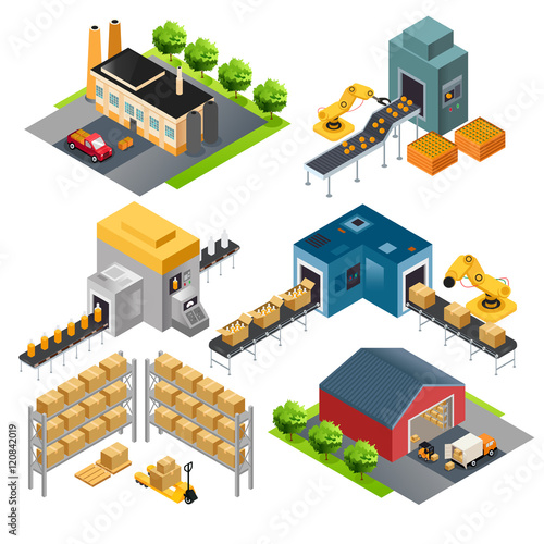 Fotografie, Obraz  Isometric industrial factory buildings