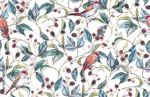 recznie-rysowane-akwarela-bezszwowe-wzor-z-naturalnych-motywow-galezie-jezyny-liscie-jagody-i-dzikie-ptaki-zieby-powtarzane-tlo-druk-na-tkaninie-i-tapetach