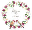 Hand-drawn watercolor wreath of the different meadow flowers with the birds. Clover, daisies wreath. Tender summer floral wreath illustration isolated on the white background. Field blossom