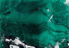 Abstract Emerald And Black Hand-made Texture. Marbling Background For Design