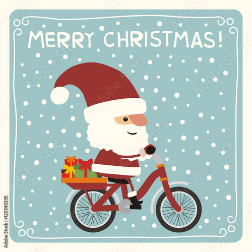 Merry christmas funny santa claus with christmas gifts riding merry christmas funny santa claus with christmas gifts riding bicycle merry christmas card m4hsunfo