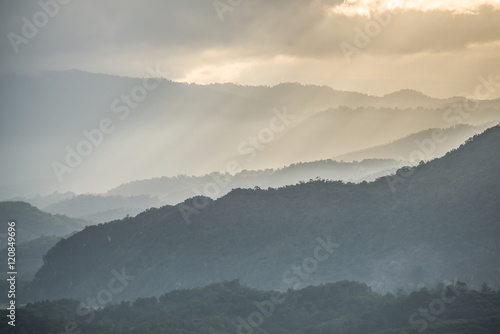 Canvas Prints Hill The mountains range with the beautiful ray light.