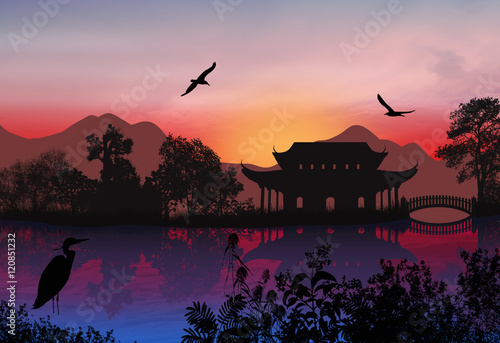 Tuinposter Aubergine Beautiful asian landscape
