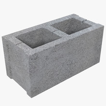 Single Gray Concrete Cinder Bl...